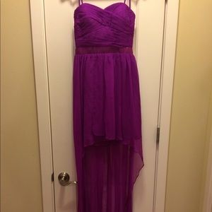Strapless Magenta High-low Dress